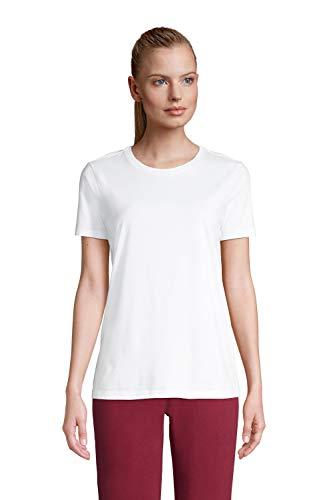 Lands' End Damen Supima Kurzarm-Shirt mit rundem Ausschnitt 44-46 Weiß