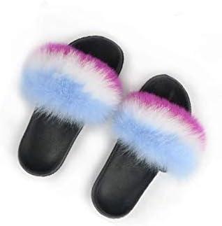 Girls Real Fur Multicolor Sandals Slides Fluffy Fuzzy for Kid Child