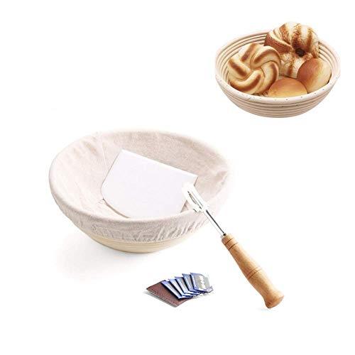 Juego de cestas para pan, kit de cesto para pan fermentado en ratán, juego de cestas para pan de baguette, fabricación de pan artesanal profesional para panaderos caseros, cesto de mimbre