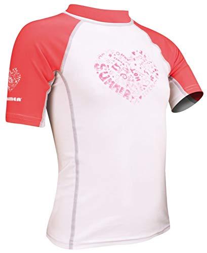 WAIMEA UV Schwimm- Trikot für Kinder Rashguard Lycrashirt Wassershirt 55UD(152,WHITE/PINK - weiss, pink)