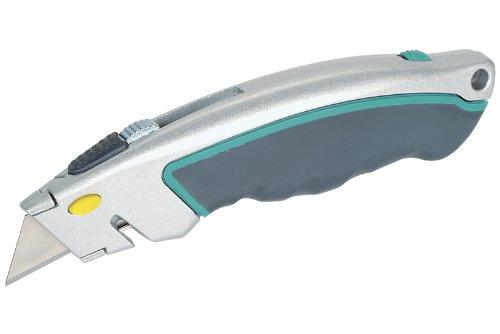Wolfcraft 4131000 1x Schnellwechsel-Profi-Messer mit einziehbarer Klinge / 5 Ersatzklingen/Klingenwechsel durch Knopfdruck/Sicherheits-Kordel-Schneider