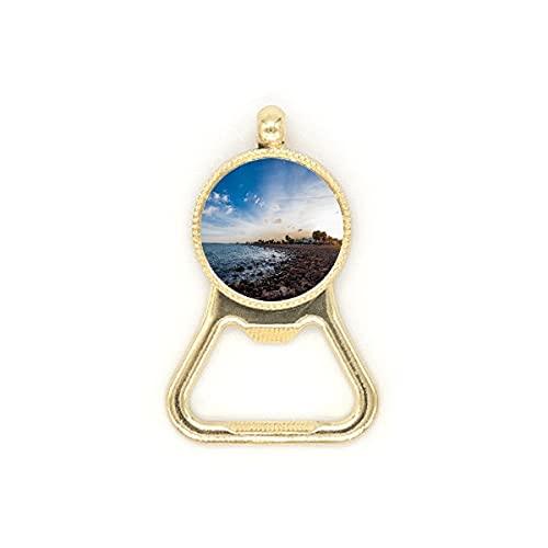 Llavero de acero inoxidable con diseño de mar de playa de piedra de océano