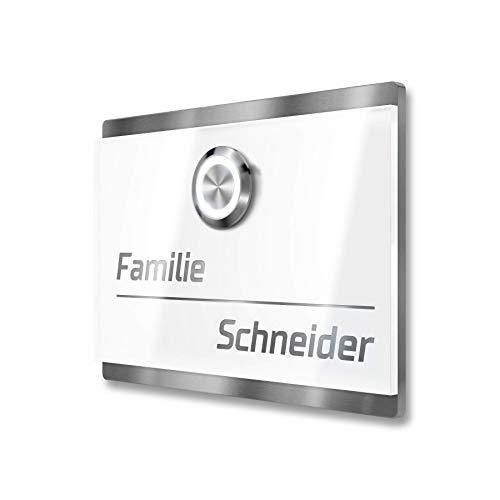 Metzler LED-Türklingel Haustürklingel aus Edelstahl in weiß - inkl. Gravur-Service