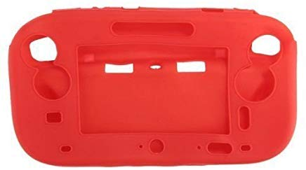 for Wii U Gamepad Controller Protective Soft Rubber Shell Case Cover Wii U Controller (Red)