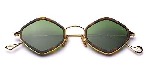 Eyepetizer Occhiali da sole modello Jimmy'z colore asta oro frontale dark havana matt e lente verde