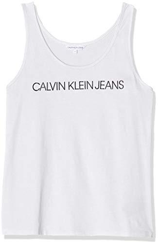 Calvin Klein Jeans Damen Institutional Logo Tank Top, Weiß (Bright White Yaf), 34 (Herstellergröße: Small)