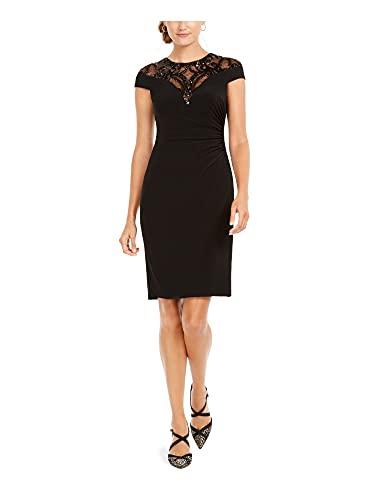 Adrianna Papell Damen Sequin Jersey Dress Formales Abendkleid, schwarz, 34