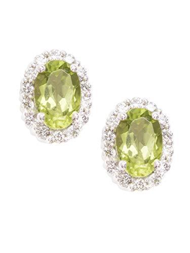 Pendientes de oro blanco 750 de peridoto, oro blanco (18 quilates) con 30 diamantes de 0,20 quilates, peridoto, 8 x 6 mm, pendientes de oro blanco Fire O-06743-G511-DIA06C/H/S2-0,20 ct-PER