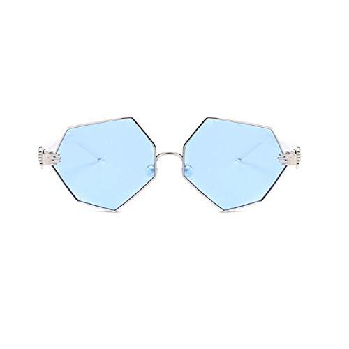 SUIBIAN Gafas de Sol hexagonales Transparentes con Degradado de Cristal de Sol para Mujer