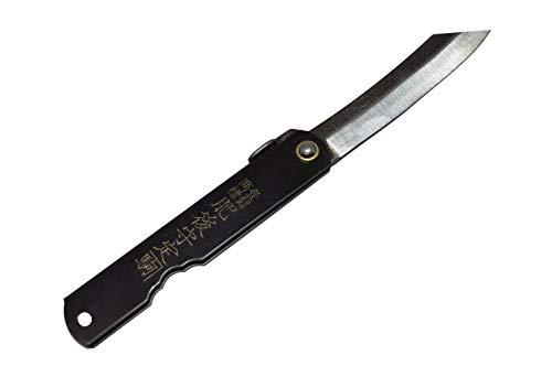 Couteau de Poche Pliant Artisanal Japonais Higonokami Zenkou Large Manche Noir Fait Main au Japon par Nagao Kanekoma