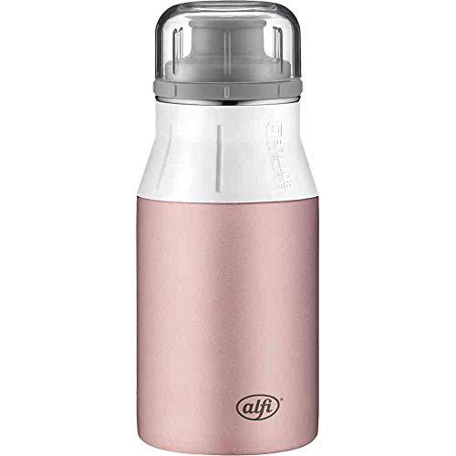 alfi elementBottle 400ml, Edelstahlflasche Pure rosa, dicht, spülmaschinenfest, BPA-Frei, Wasserflasche 5357.206.040, Trinkflasche Edelstahl für Kinder, Schule, Sport, Flasche für Schorle
