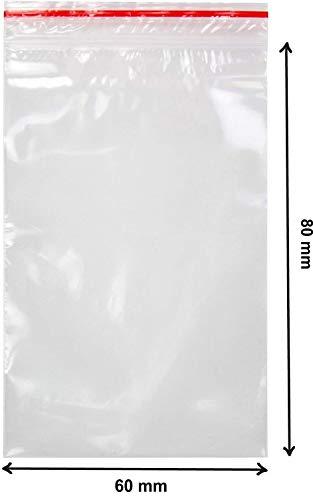 V1 Trade - Zip Beutel -100 stück - Durchsichtiger Reißverschluss Wiederverschließbare Plastiktüten Druckverschlussbeutel (60 x 80 mm)