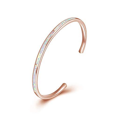 WINNICACA Erstellt Opal Stulpearmband Sterling Silber Rose Gold Oktober Birthstone Schmuck Geschenke für Frauen Geburtstag