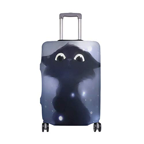 IUBBKI Travel Luggage Cover Cute Night Black Cat Pet Theme Suitcase Protector FitSch Washable Baggage Covers
