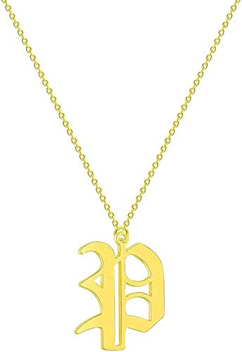 ZGYFJCH Co.,ltd Collar Moda Carta par Collar Hombres Mujeres Nombre Inicial joyería de Acero Inoxidable Oro Rosa étnico Oro Amistad Collares Regalo