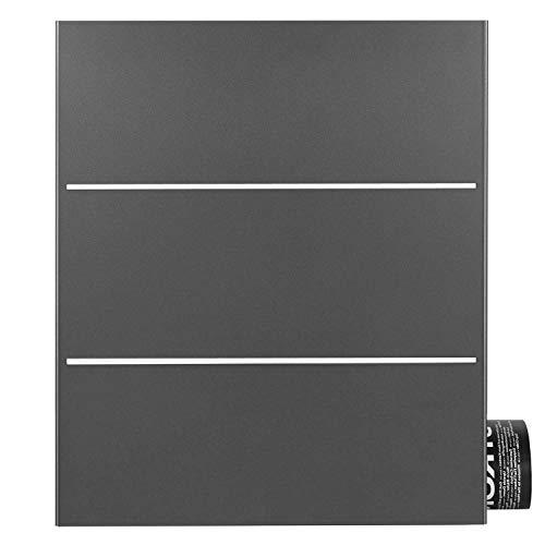 Briefkasten mit Zeitungsfach grau-eisenglimmer (DB 703) MOCAVI Box 141R Postkasten Edelstahl-Detail V2A Wand-Briefkasten mit Zeitungsrolle groß modern deutsche Marken-Qualität DIN A4