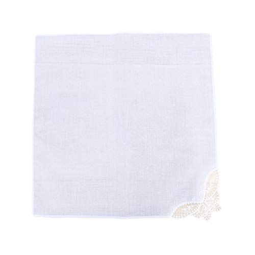 Kerhcusde 28x28cm Mujeres Pañuelos Cuadrados Blancos Lisos Crochet Mariposa Esquina de Encaje...