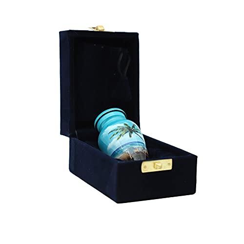 hlc URNS Keepsake Urn – Lovely Blue Beach Small Keepsake Qnty 1 - Keepsake Urn for Human Ashes with 1 Velvet Box Bag-Mini Keepsake Urn - Affordable Keepsake Urn (3 cu.in)