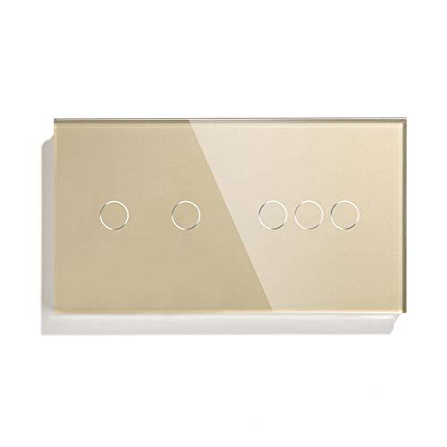 Schalttafel Berührungsschalter 2 Gang mit 3-Gang-Standard-Touch-Sensor Schwarz Weiß Goldene 3 Farben mit Glasscheibe...