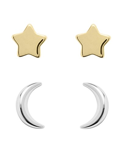 Fossil Ohrringe JFS00430998 Damen Ohrstecker Stern Mond Wish upon a star Sterling-Silber 925 Bicolor Gold
