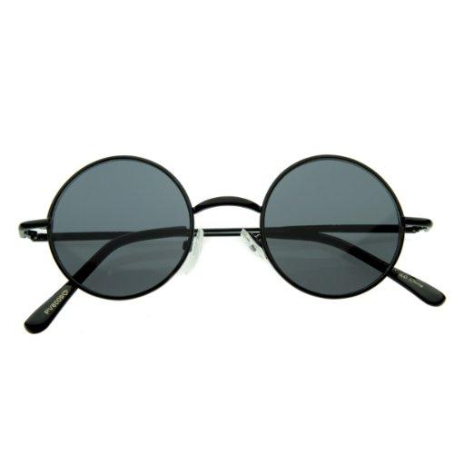 Small Retro-Vintage Style Lennon Inspired Round Metal Circle Sunglasses, Black