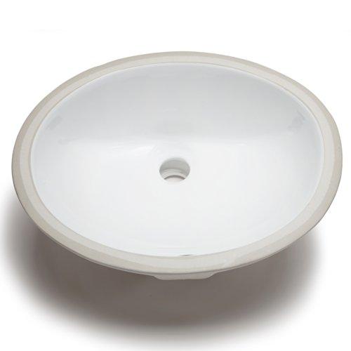 Hahn Ceramic VC012 Small Oval Ceramic Bathroom Sink, White