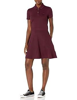 Lacoste Women s Short Sleeve Slim Fit Banded Waist Polo Dress Pruneau 2