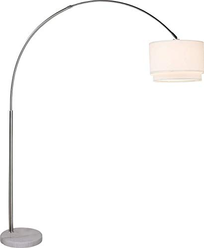 Major-Q SH-6938WH Brush Steel Arching Floor Lamp with White Real Marble Base - Features Large White Double Drum Style Shade - 81' Tall Fits in Living or Bedrooms - White, extra large