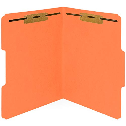 50 Orange Fastener File Folders - 1/3 Cut Reinforced Tab - Durable 2 Prongs Bonded Fastener Designed to Organize Standard Medical Files, Office Reports - Letter Size, Orange, 50 Pack