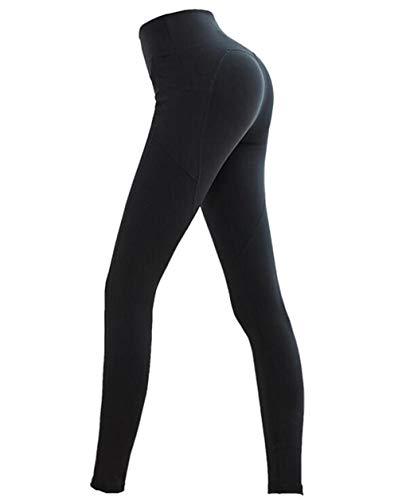SIMOOOTHY Leggings y medias deportivas Pantalones De Yoga Elásticos De Cintura Alta Para Mujer Pantalones Deportivos De Bolsillo Pantalones Ajustados De Cadera Negro Xl