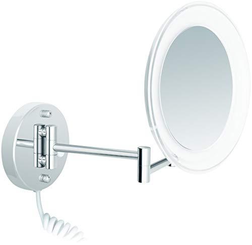 Nicol Kosmetik Wandspiegel 5fach Vergrößerung mit Beleuchtung schwenkbar verchromt Acrylrand transparent