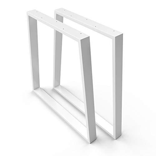 sossai® Trapezoide - Base de Mesa de Acero | TKG6 | Color : blanco | 2 Piezas | Ancho 70 cm (50 Trapecio) x Altura 70 cm | patas de mesa | carga pesada