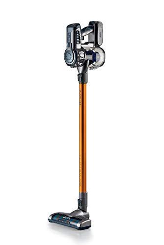 Ariete 2723 - Aspirador Escoba Motor Digital sin Cable 2 en 1 (22 V Litio, Motor Digital, indicador led, Triple filtración, Filtro hepa), Color Naranja Detalles Gris