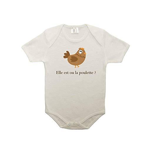 Mygoodprice Body bébé 100% Coton Citation Kaamelott Kadoc Elle est où la poulette 2 Blanc 18-23 Mois