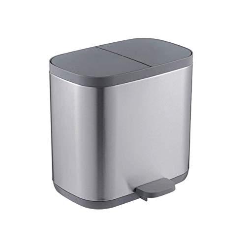 1yess Mülleimer doppeltes Recycling Abfallbehälter, doppelter Fachbehälter für Abfalltrennung, Fingerabdruck-Proof-Mülleimer, Büroabfallbehälter Abfallbehälter (Farbe: weiß) (Color : Black)