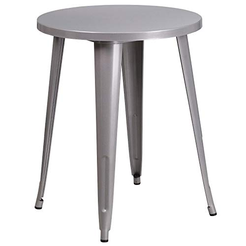 Flash Furniture 24'' Round Silver Metal Indoor-Outdoor Table