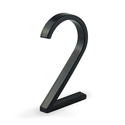 HASWARE Moderne Hausnummer, Schwimmendes Aussehen, Einfache Installation (Ziffer 2)
