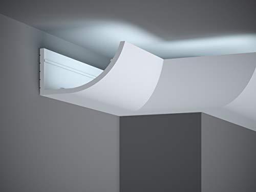 MARDOM DECOR Lichtleiste I MD362 Lightguard® I Stuckleiste Wandleiste Deckenleiste I für indirekte LED Beleuchtung konzipiert I 200 cm x 8,6 cm x 17,2 cm