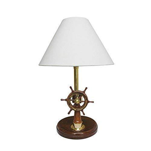 linoows Tischleuchte, Lampe, Maritime Tisch Lampe mit Steuerstand und Steuerrad 39 cm