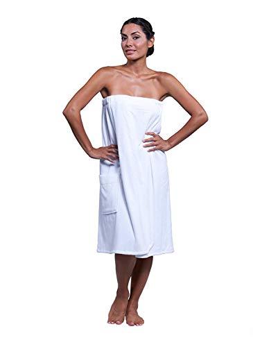 Boca Terry Womens Spa Wrap - 100% Cotton Spa, Shower, Bath and Gym Towel w Snaps - White XXL