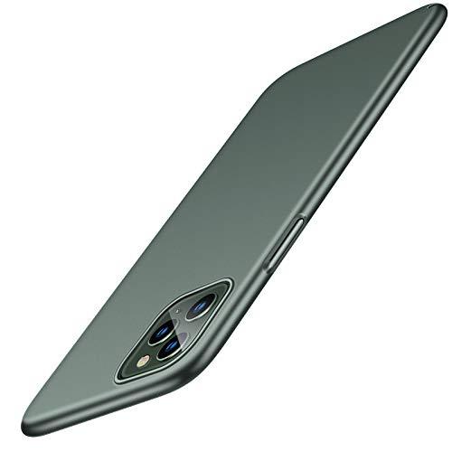 TORRAS Extrem Dünn für iPhone 11 Pro Hülle mit Schutzglas (1 Hülle+2 Schutzglas) Minimalism Seidig Glatt Matte Hülle Stoßfest Schutzhülle Decency Series Handyhülle für iPhone 11 Pro-Nachtgrün