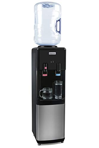 Igloo IWCTL352CHBKS Stainless Steel Hot & Cold Top-Loading Water Cooler Dispenser, Holds 3 & 5 Gallon Bottles, Child Safety Lock, Perfect For Homes, Kitchens, Offices, Dorms, black