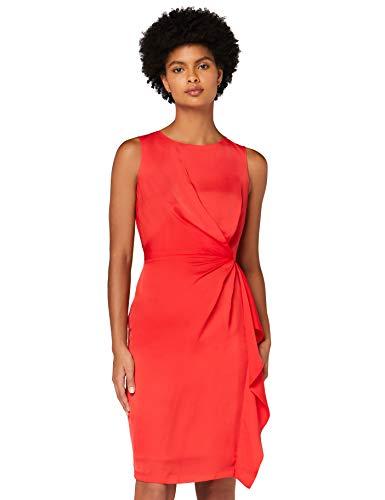 Marca Amazon - TRUTH & FABLE Vestido Túnica Detalle Retorcido Mujer, Rojo (Red), 46, Label: XXL