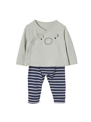 VERTBAUDET Conjunto para bebé recién nacido chaqueta cruzada y leggings a rayas AZUL OSCURO LISO CON MOTIVOS 9M-71CM