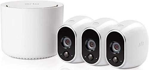 Arlo HD WLAN Überwachungskamera, 3er Set, kabellos, Innen / Aussen, Bewegungsmelder, Nachtsicht, Smart Home, CCTV, wetterfest, VMS3330, Weiß
