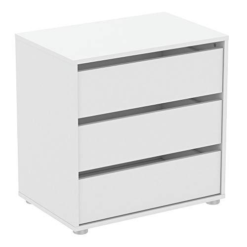 habeig Kommode BLANK weiß Flurschrank Schrank Wäscheschrank Schlafzimmer modern groß Sideboard (#741-60x40x58cm)