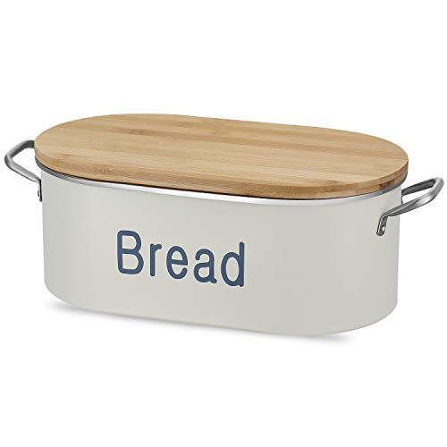 DAILYLIFE Bread Box for Kitchen, Metal Bread Bin, Bread Holder with Bamboo Lid