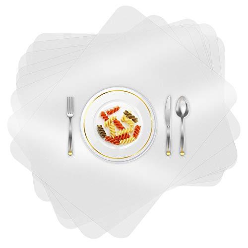 O-Kinee 8 Piezas Manteles Individuales, Plástico Salvamanteles, Transparentes Alfombrillas, para Mesa de Comedor Kitchen Placemat (8 Piezas)