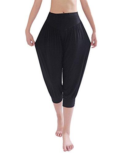 Women's Super Soft Modal Pants 3/4 Comfy Harem Cropped Shorts Baggy Yoga Capri Trousers Black M