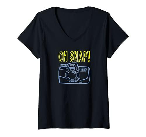 Donna OH SNAP Fotocamera divertente citazione fotografo fotografia Hobby Maglietta con Collo a V